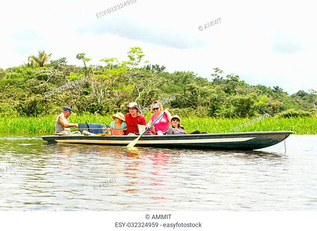 Tourists Fishing Legendary Piranha Fish In Ecuadorian Amazonian Primary Jungle