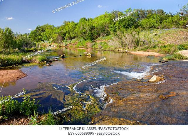 A small stream runs through the hill country of Texas, USA