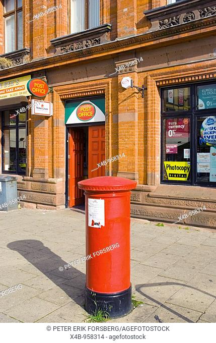 Letter box and post office Pembroke Place square along London Road in Liverpool England UK Europe