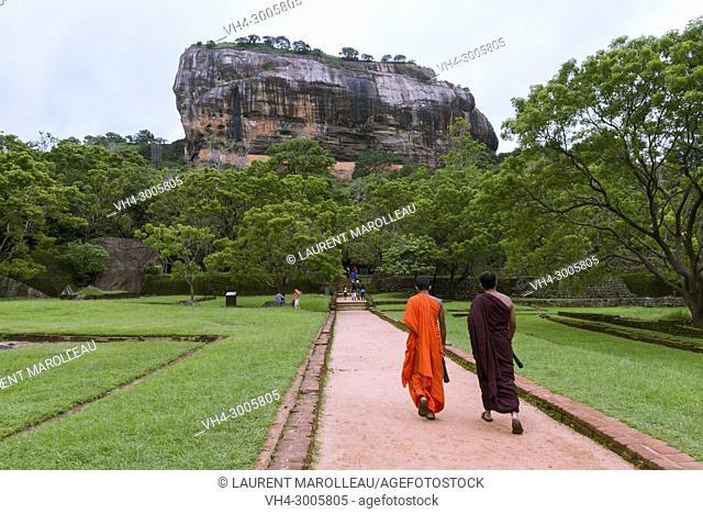 Monks going to the Sigiriya Lion Rock Fortress, Ancient City of Sigiriya, North Central Province, Sri Lanka, Asia