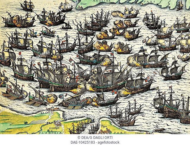 The invincible armada, engraving by Franz Hogenberg (1535-1590). Spain, 16th century.  Geneva, Bibliothèque Publique Et Universitaire (Library)