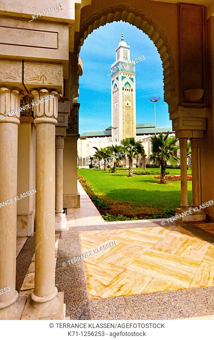 Exterior of the Hassan II mosque in Casablanca, Morocco