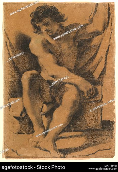 Seated Nude Young Man in Nearly Frontal View. Artist: Guercino (Giovanni Francesco Barbieri) (Italian, Cento 1591-1666 Bologna); Date: ca