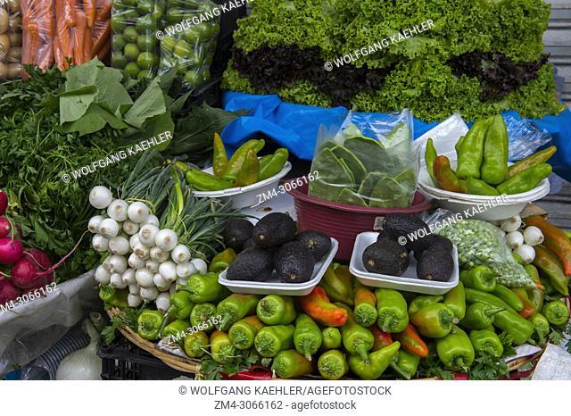 Fresh produce for sale at the Benito Juarez Market in Oaxaca City, Mexico