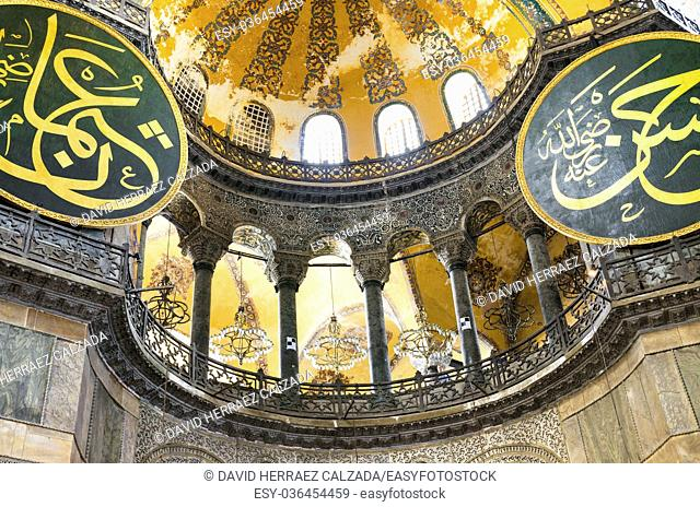 Interior of Hagia Sofia in Istanbul, Turkey. Hagia Sophia is a former Greek Orthodox patriarchal basilica, later an imperial mosque