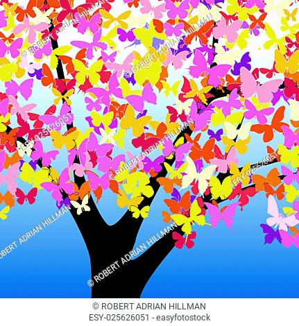Editable vector illustration of a tree with butterfly leaves