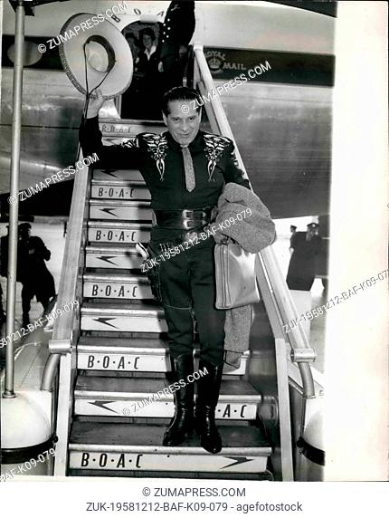 Dec. 12, 1958 - The Cisco Kid arrives. The Cisco Kid - whose real name is Duncan Ronald - arrived at London airport, this morning