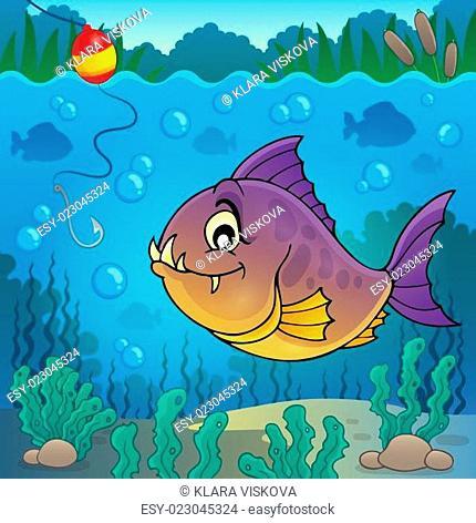 Piranha fish underwater theme 3