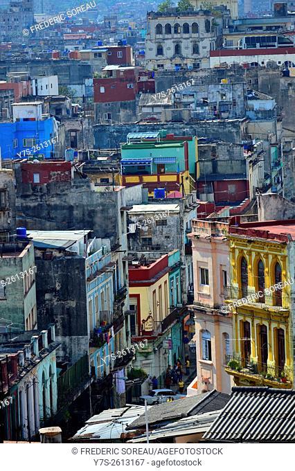 Aerial view of Old Havana, Cuba