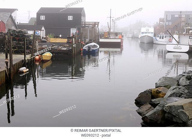 The Crick in fog at Fishermans Cove Eastern Passage Halifax Nova Scotia