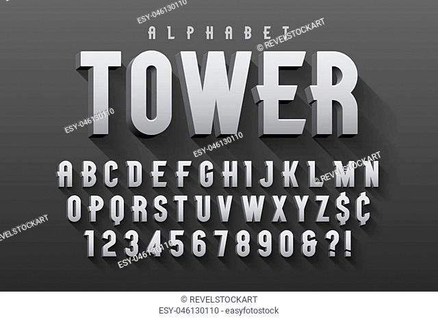 Vector condensed original display font design, alphabet, character set. Easy swatch color control