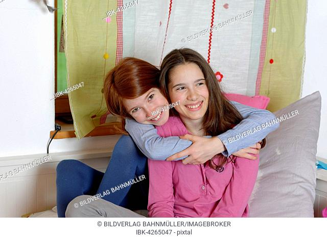Girls, hugging, friendship, Upper Bavaria Germany