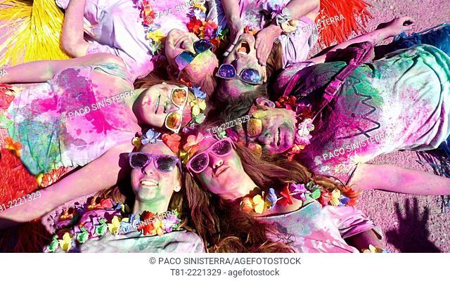 holiday fun run, Holi festival of color, Valencia Spain