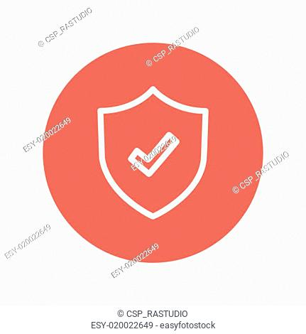 Shield with check mark thin line icon