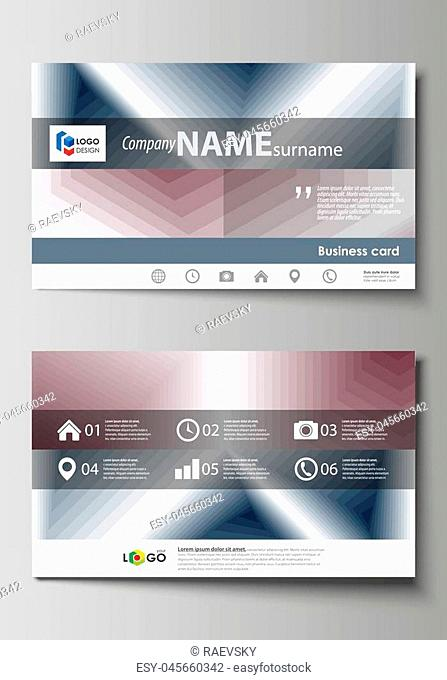 Business card templates. Easy editable layout, abstract vector design template. Simple monochrome geometric pattern. Abstract polygonal style