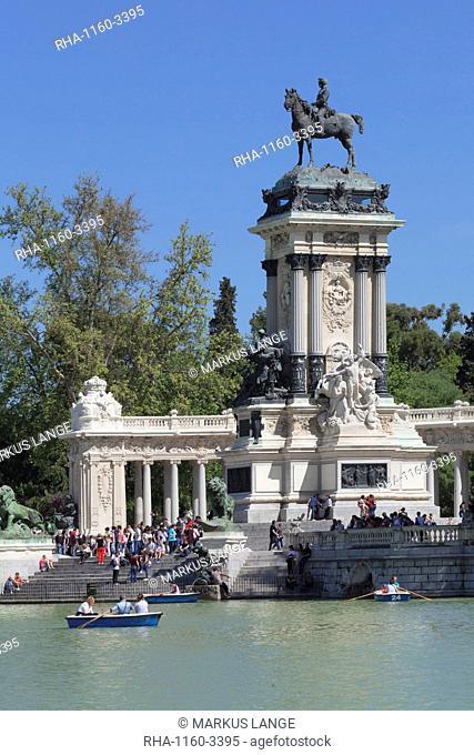 Monument of King Alfonso XII, Retiro Park (Parque del Buen Retiro), Madrid, Spain, Europe