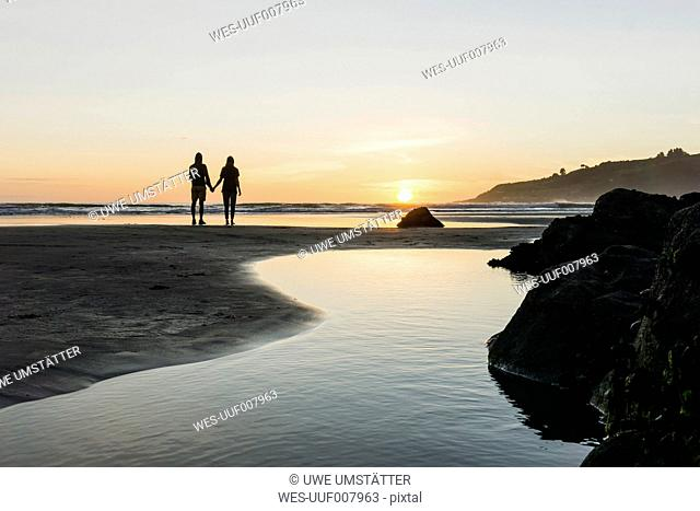 Silhouette of couple standing hand in hand on the beach looking at sunset
