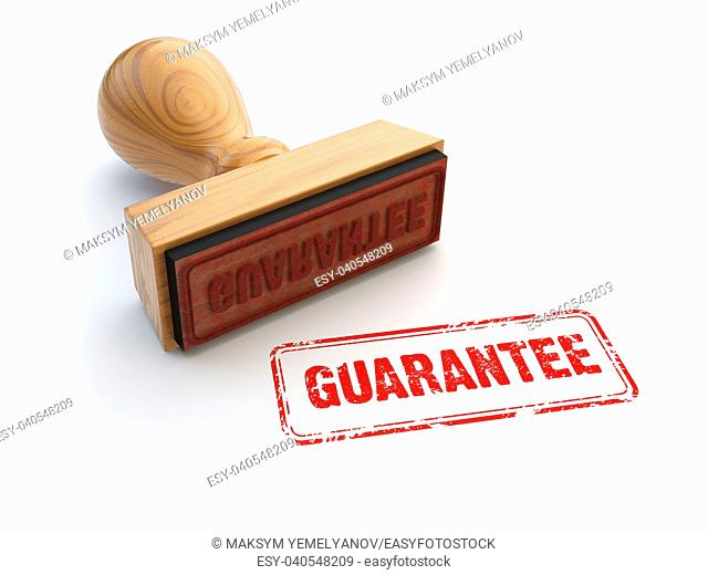 Stamp guarantee isolated on white. Product service warranty and satisfaction concept. 3d illustration
