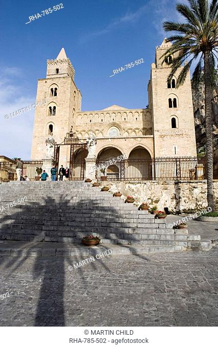 Shadow of palm tree, and cathedral, Piazza Duomo, Cefalu, Sicily, Italy, Europe