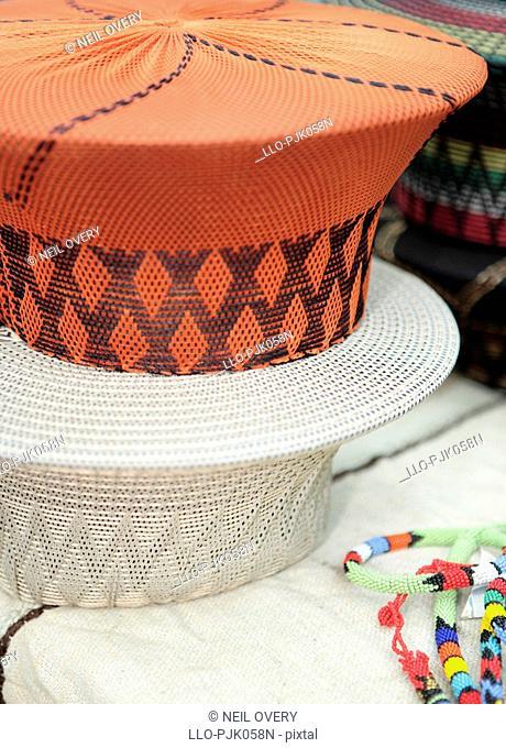 Traditional Zulu / Xhosa hats. nr Empangeni, Kwa-Zulu Natal Province, South Africa