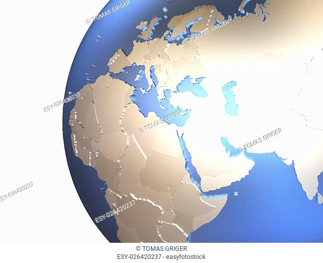 Middle East region on metallic model of planet Earth with embossed continents and visible country borders. 3D rendering