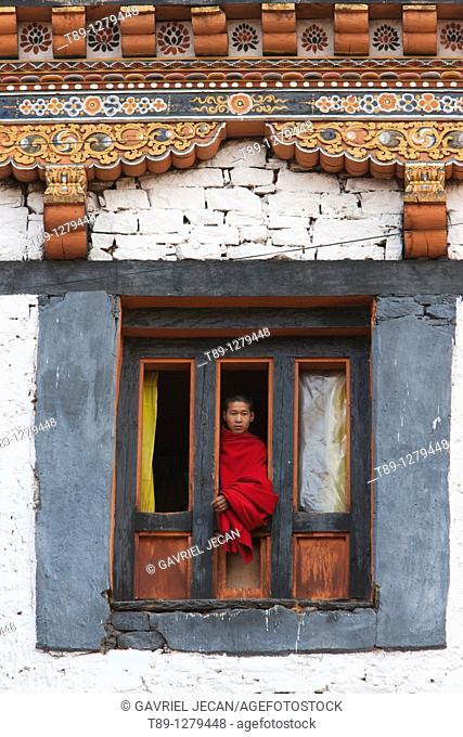 Buddhist monk in the window