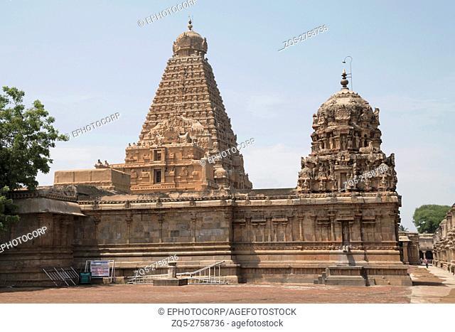 Amman shrine and Brihadisvara Temple in the background , Tanjore, Tamil Nadu, India