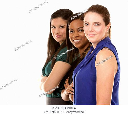 group of women wearing office outfits on white isolated background