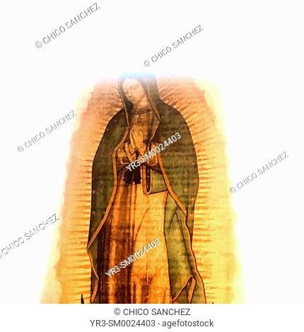 An image of Our Lady of Guadalupe decorates a window in Mexico City, Mexico