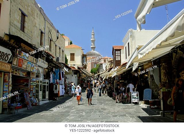 Mosque of Suleyman / Suleiman from Odos Sokratous Street, Rhodes Old Town, Rhodes, Dodecanese , Greece