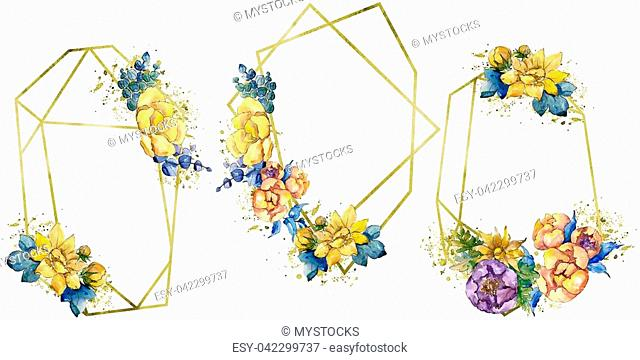 Watercolor colorful bouquet flowers. Floral botanical flower. Isolated illustration element. Aquarelle wildflower for background, texture, wrapper pattern