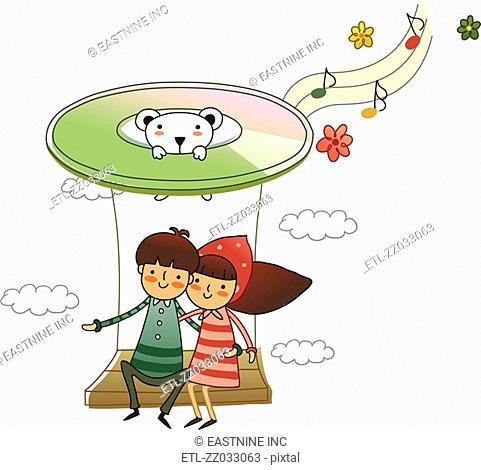 Couple sitting on a swing