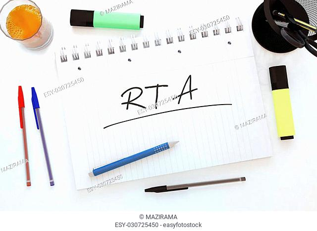 RTA - Real Time Advertising - handwritten text in a notebook on a desk - 3d render illustration