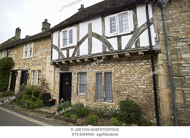The old court house building with timber framed upper storey and stone walls Castle Combe village wiltshire england uk