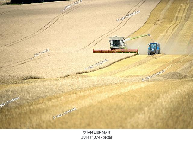 Combine Harvester With Tractor Harvesting Wheat Crop