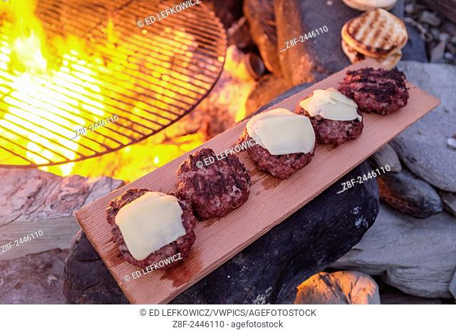 Hamburgers and cheeseburgers just griled over an open fire on the beach rest on a cedar shingle used as a plate on a summer beach picnic in Little Compton