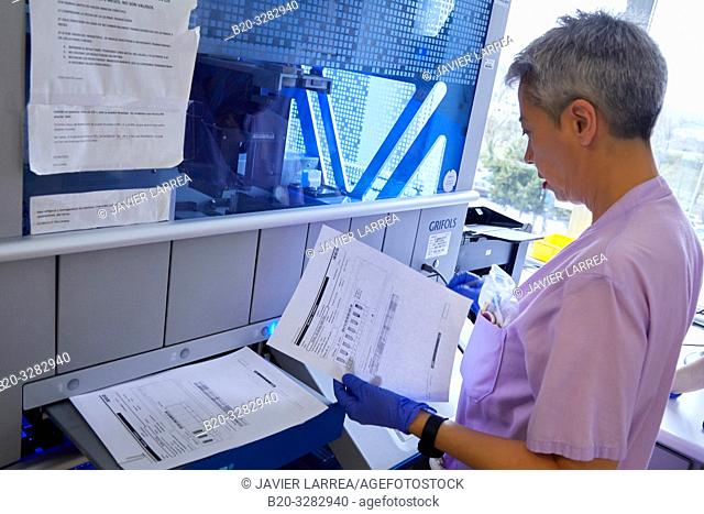Clinical analysis, Hematology, Hospital Donostia, San Sebastian, Gipuzkoa, Basque Country, Spain