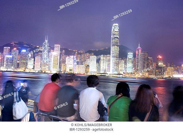 Tsim Sha Tsui Promenade in the evening, skyline, Kowloon, Hong Kong, China, Asia
