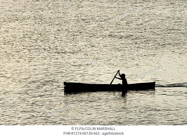 Silhouette of boy rowing canoe at sea, near Perai Village, West Wetar Island, Alor Archipelago, Lesser Sunda Islands, Indonesia