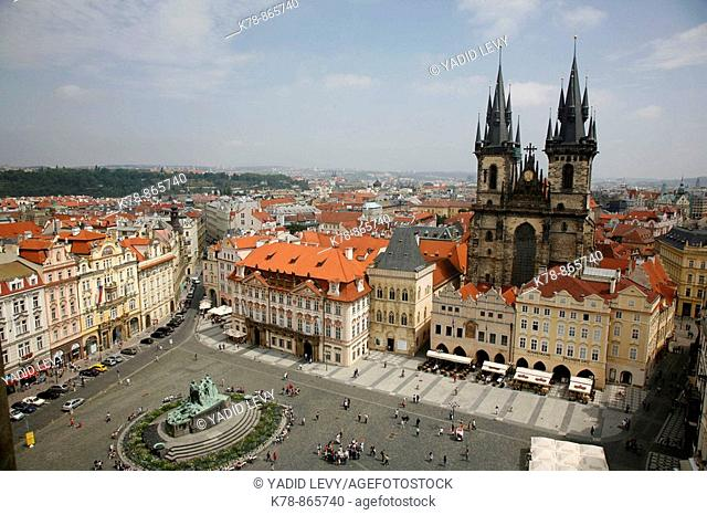 View over the Old Town Square and the Tyn Church, Stare Mesto, Prague, Czech Republic