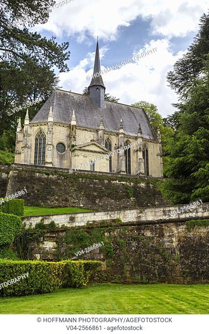 Palace chapel Notre Dame d'Ussé on the grounds of the Château d'Ussé in the Loire Valley, Indre-et-Loire, France, Europe