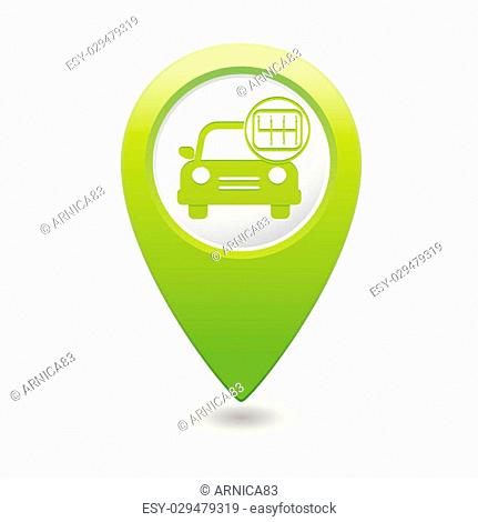 Car service. Car with stick shift on green map pointer