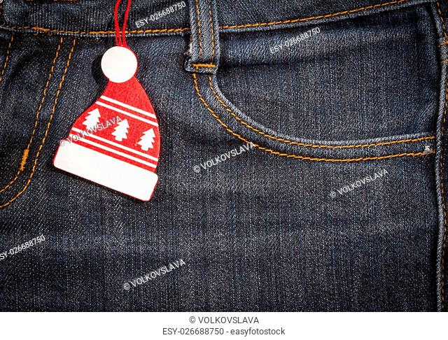 New year, Christmas background. Jeans texture with a pocket