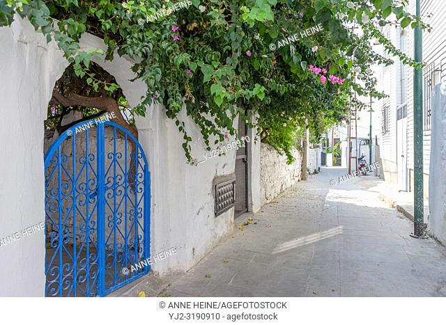 Narrow alley not for cars, in residential area in Bodrum, Turkey