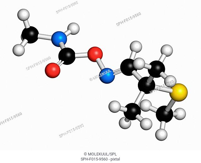 Aldicarb pesticide, molecular model. Atoms are represented as spheres with conventional colour coding: hydrogen (white), carbon (black), oxygen (red)