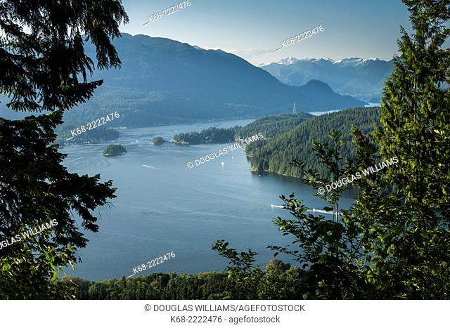 View of Burrard Inlet from Burnaby Mountain, Burnaby, BC, Canada