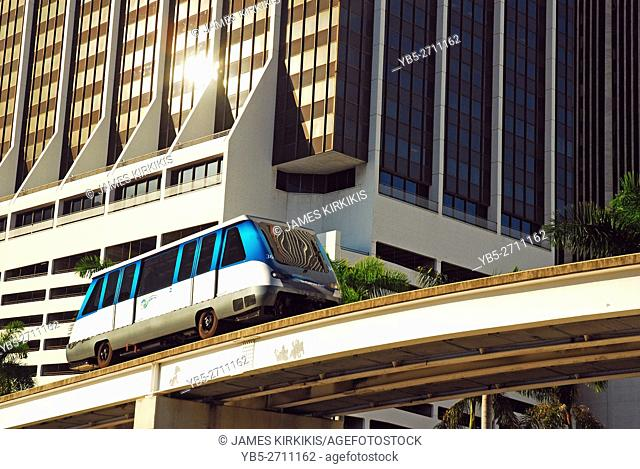 The Metomover Traveling Through Downtown Miami