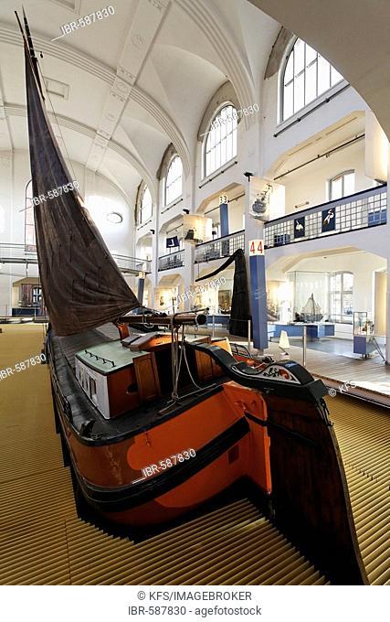 Historic transport sailing boat, Museum der Deutschen Binnenschifffahrt (museum of the German inland navigation), Duisburg-Ruhrort, NRW, Germany