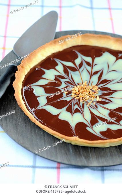 Black and white chocolate pie