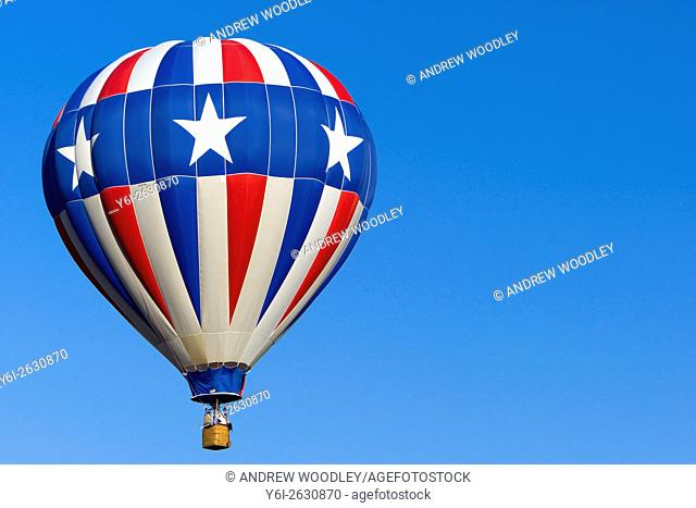 Stars and Stripes hot air balloon over Cody Wyoming USA
